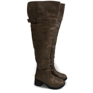 Over the knee tan chunky heeled boots size 8